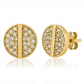 Mazali Jewellery Sterling Silver Stud Earrings with Round Pave Cubic Zirconia Disk and Single Central Line GOLD GOLD