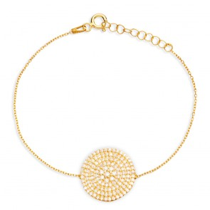 Mazali Jewellery Sterling Silver Gold Plated Bracelet with Large Pave Disc GOLD
