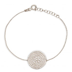 Mazali Jewellery Sterling Silver Bracelet with Large Pave Disc RHODIUM