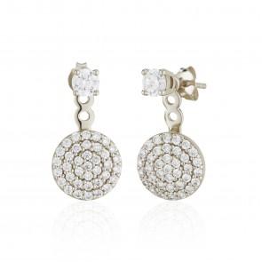 Mazali Jewellery Sterling Silver Single Stud and Pave Disc Ear Jackets RHODIUM RHODIUM