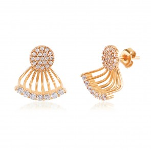 Mazali Jewellery Sterling Silver Gold Plated Ear Jackets with Pave Circles and Curved Bar GOLD