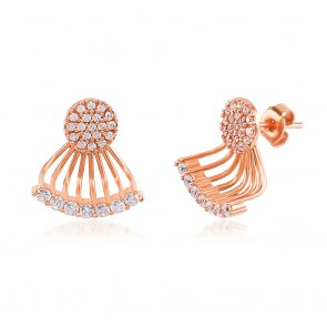 Mazali Jewellery Sterling Silver Rose Gold Plated Ear Jackets with Pave Circles and Curved Bar ROSE GOLD