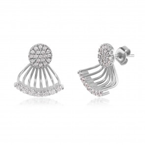 Mazali Jewellery Sterling Silver Ear Jackets with Pave Circles and Curved Bar RHODIUM