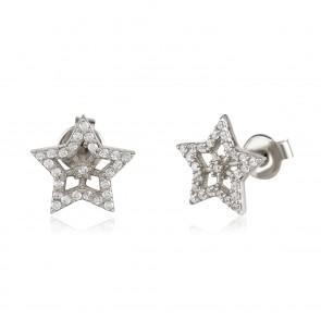 Mazali Jewellery Sterling Silver Pave Star Stud Earrings RHODIUM