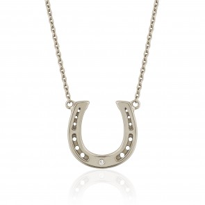 Mazali Jewellery Sterling Silver Horseshoe Necklace RHODIUM