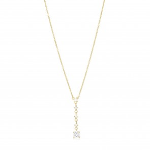 Mazali Jewellery Sterling Silver Necklace with Hanging Diamonds by the Yard Pendant of Length 38-42.5cm GOLD GOLD