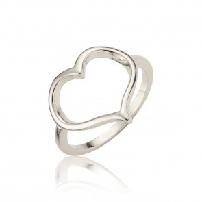 Mazali Jewellery Sterling Silver Open Heart Ring - Size P RA5347/SIL/8 RHODIUM RHODIUM