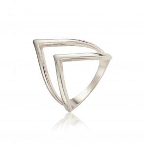 Mazali 2 traingle layer ring silver