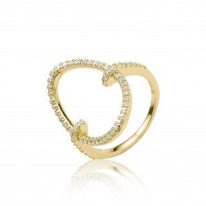 Mazali Jewellery Sterling Silver Pave Cubic Zirconia Oval Ring - Size P RB9063/SIL/8 GOLD GOLD