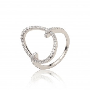 Mazali Jewellery Sterling Silver Pave Cubic Zirconia Oval Ring - Size P RB9063/SIL/8 RHODIUM RHODIUM
