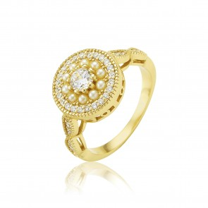 Mazali Jewellery Sterling Silver Cubic Zirconia Stones and Small White Pearls Ring - Size P RB9219/SIL/8 GOLD GOLD