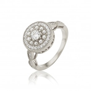 Mazali Jewellery Sterling Silver Cubic Zirconia Stones and Small White Pearls Ring - Size P RB9219/SIL/8 RHODIUM RHODIUM