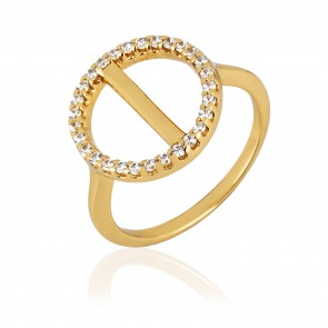 Mazali Jewellery Sterling Silver Gold Plated Open Circle Ring with Pave Line  GOLD