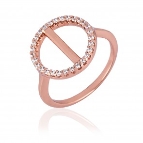 Mazali Jewellery Sterling Silver Rose Gold Plated Open Circle Ring with Pave Line  ROSE GOLD